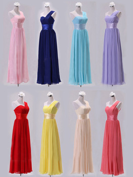 Fashion Bridesmaid Floor Length Dress One Shoulder Tube Top Chiffon Long Formal Wedding Party Dress Drop, Free Shipping PD0014