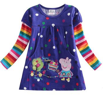 Free shipping NWT girls rainbow strip long sleeve peppa pig applique tunic polka dot top t shirt with embroidery, three colors