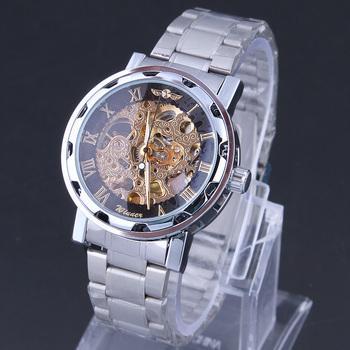 WINNER Skeleton watches for men full steel watch Mechanical Watch Auto Hand Wind analog round wristwatches
