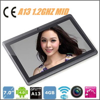 MID 7 inch tablet pc Allwinner A13 1.2GHZ 4GB 512MB wifi 2800mAH  5-point touch capacitive screen Android 4.0,Free shipping