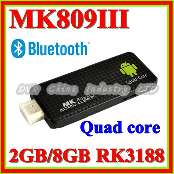 2013 New Mini PC MK809 III Quad core with Bluetooth+Wifi+HDMI+Rockchip RK3188+1.8Ghz Android 4.2 TV Box 2GB RAM 8GB ROM TV Stick