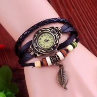 Holiday sale New Fashion Cow Leather watch with wooden bead vintage leaf tag dress quartz wrist watch KOW031