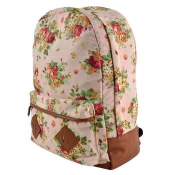New Girls Canvas Flower Rucksack Backpack School College Travel Cabin Bag 15934 B19