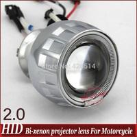 2.5 inch motorcycle HID headlight lens+ angel eyes+devil eyes aircraft aluminum bi  xenon lens of light motorcycle