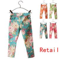 5 Size Kids leggings summer new 2014 Girl legging cheap Floral Skinny Pencil Pants for girls  children pants  100% cotton P09