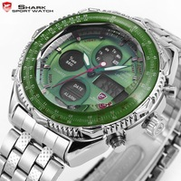Shark Dual Time Analog Digital Day Date Display Silver Stainless Steel Green Dial Men's Sport Racing Quartz Wristwatch / SH112
