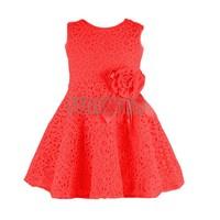 2014 Summer New girls dress Children lace dress,kids noble fairy dress bow princess dress high quality Red/White/Pink 20120