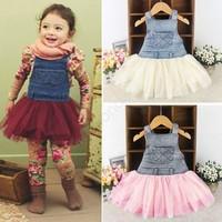 New 2014 Girl Summer Denim Dress for Girls Kids Girl Jeans Tutu Dress Cute Beautiful Children Dresses SV000729 B26