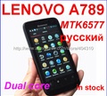 In stock free shipping Original Lenovo A789 MTK6577 Dual Band Android 4.0  wifi GPS 1Ghz 4GB ROM 512 RAM Russian in stock