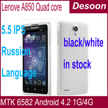 lenovo a850 Quad Core White balck in stock mtk6582m 5.5inch Android 4.2 GPS 3G Smartphone google playstore multi language /vicky